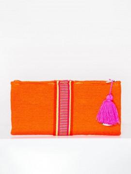 Cartera Wayuu Naranja con Borla Fucsia