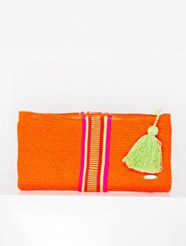 Cartera Wayuu Naranja con Borla Verde