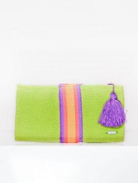 Cartera Wayuu Verde con Borla Morada