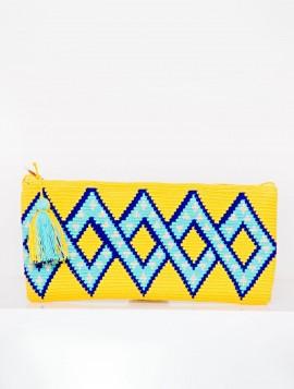 Cartera Wayuu Amarillo con Azules