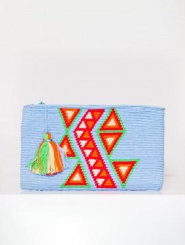 Cartera Wayuu Azul con Rosa y Naranja
