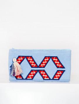 Cartera Wayuu Celeste con Rojo y Azulón