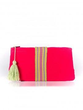 Cartera Wayuu Rojo con Borla Verde