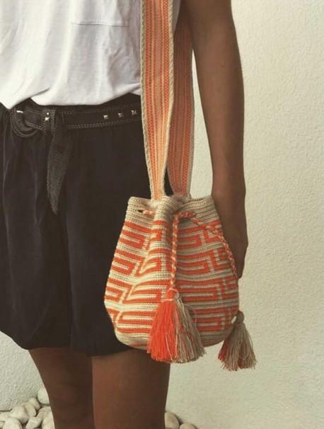 Bolso Wayuu Beige Claro y Naranja