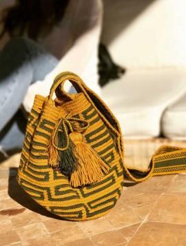 Bolso Wayuu Mostaza y Verde Militar