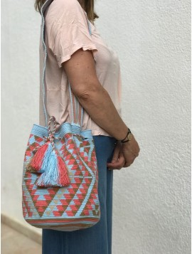 Bolso Wayuu Azul Celeste y Rosa