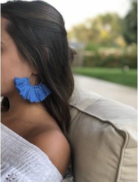 Pendientes de Flecos Azules