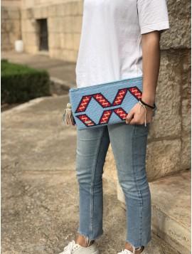 Cartera Wayuu Celeste Rojo Azul jeans