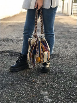 Bolso Wayuu Beige, Azul Jeans, Vino y Ocre