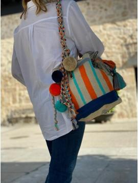 Bolso Wayuu Beige, Azul, Naranja y Turquesa